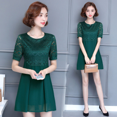 Jual Mm Korea Fashion Style Gaun Sifon Musim Panas Perempuan A Rok Kata Hijau Baju Wanita Dress Wanita Gaun Wanita Grosir