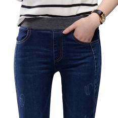 Review Mm Korea Fashion Style Koboi Pensil Pinggang Elastis Musim Semi Dan Musim Gugur Celana Panjang 6060 Biru Tua Warna Celana Panjang Baju Wanita Celana Wanita Celana Jeans Wanita Oem