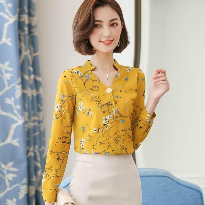 MM Korea Fashion Style Lengan Panjang Wanita Dicetak Kemeja Sifon Bunga Atasan (Kuning)
