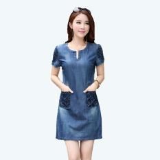 Toko Mm Korea Fashion Style Bagian Panjang Lengan Pendek Rok Perempuan Gaun Gambar Warna Oem