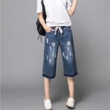 Beli Mm Korea Perempuan Tujuh Poin Celana Harem Longgar Celana Jeans Biru Dengan Kartu Kredit