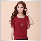 Perbandingan Harga Mm Wanita Ukuran Besar Ukuran Plus T Shirt Kemeja Sifon Anggur Merah Baju Wanita Baju Atasan Kemeja Wanita Di Tiongkok