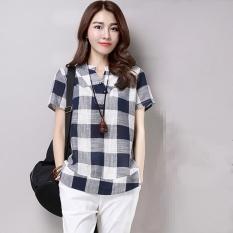Baju Lengan Pendek Cotton Kotak Longgar Wanita