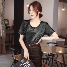 Tips Beli Mmt Kemeja Gaya Kampus Sutra Cerah Atasan Liar Lengan Pendek Hitam Baju Wanita Baju Atasan Kemeja Wanita Yang Bagus