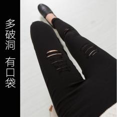 Katalog Mm Korea Fashion Style Luar Memakai Legging Baru Celana Bottoming Celana Hitam Lebih Dari Lubang Memiliki Saku Oem Terbaru
