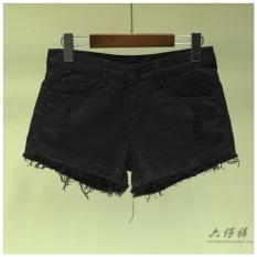 Celana Pendek Jeans Wanita Warna Putih Pinggiran Berbulu Berlubang Versi Korea (Hitam) (Hitam)