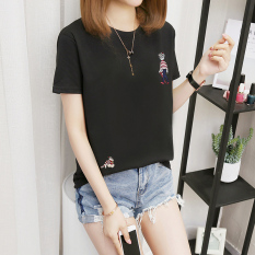 Beli Mm Versi Korea Ukuran Besar Perempuan Baru T Shirt 308 Bordir Orang Hitam Oem Dengan Harga Terjangkau