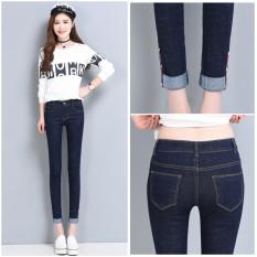 Harga Mm Jeans Musim Semi Sembilan Poin Celana Wanita Ukuran Besar Biru Tua Oem Original