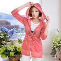 MM200 Wanita Di Bagian Panjang Bagian Tipis Lengan Panjang Jaket Angin Baju Pelindung Matahari (Of Watermelon)