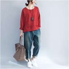 Ukuran Besar Baju Wanita Musim Gugur Wanita Gemuk Mm2018 Model Baru 200 Pound Versi Korea Longgar Kaos Lengan Panjang Warna Polos Menutupi Perut Atasan