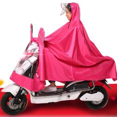 Mobil Listrik Dua Orang Ukuran Plus Lebih Tebal Dua Orang Jas Hujan Dua Orang Jas Hujan (Tunggal Kepala Orang Ganda Pinggiran Topi Merah Mawar)