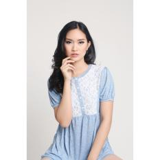 Toko Babydoll Blouse Brocade Combination Baby Blue Mobile Power Ladies G6823 Online Terpercaya