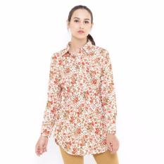 Harga Floral Printing Tunic Long Sleeve Orange Mobile Power Ladies D8375 Branded