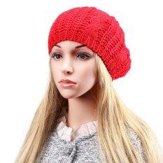 Mode Musim Dingin Hangat Wanita Baret Kepang Longgar Merajut Crochet Beanie Hat Topi