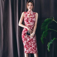 Harga Mode Ol Temperamen Halter Dress Paket Hip Merah Asli Oem
