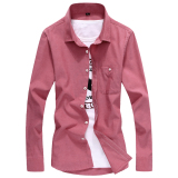 Beli Mode Oxford Kemeja Warna Solid Slim Pakaian Pria Kemeja Lengan Panjang Kemeja Anggur Merah Anggur Merah Yang Bagus