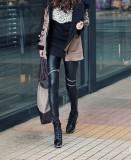 Perbandingan Harga Shishang Faux Leather Side Of The Zip Ankle Length Pants Leggings Lutut Ritsleting Baju Wanita Celana Wanita Oem Di Tiongkok