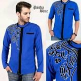 Harga Model Baju Muslim Pria Koko Pashadi Bordir Blue Fullset Murah