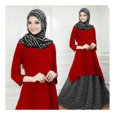 MODEL BAJU TERBARU!!! Setelan Hijab Maurah Navy 3in1 ( Atasan Tunik + Bawahan Rok + Pasmina ) Model Gamis Modern & Kekinian, Bikin Siapa Pun Yg Memakainya Akan Kelihatan Lebih Anggun, Gaul, Trendy, Gaya & Cantik Maksimal ;-)