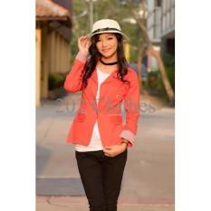 Model [ Blazer Bonia SW] Pakaian Wanita Blazer Warna Orange Laris