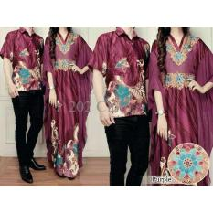 Model Busana Muslim Couple Kaftan Anggun Purple Ungu Sarimbit Batik Modern