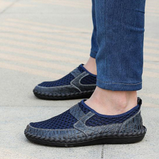 Sandal Musim Panas Kulit Sandal Pria Model Crocs Pijakan Empuk (Biru)