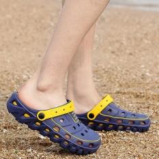 Sepatu Crocs Pria Plastik Anti Bau Versi Korea (Biru) (Biru)