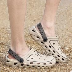 Sepatu Crocs Pria Plastik Anti Bau Versi Korea (Coklat Muda Warna) (Coklat Muda Warna)