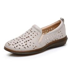 Model Crocs Wanita Musim Semi atau Musim Gugur Sepatu Kulit Sepatu Tergelincir (Warna Beras)