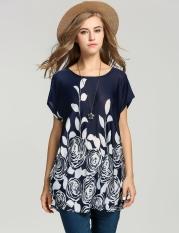 Model gaun wanita dari sutra longgar Flower print es gaun musim-musim panas 4warnd