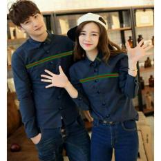 Beli Barang Model Kemeja Couple List Rainbow Navy Online
