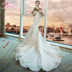 Model Korea Baru Gaun Pengantin Mermaid Slim Menikah Gaun Gaun Pengantin (Putih [Prop Ekor Model]) baju wanita
