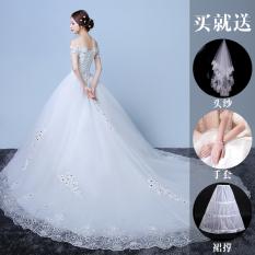 Gaun Pengantin Ekor Panjang Model Sabrina Versi Korea (Berekor Panjang) (Berekor Panjang)