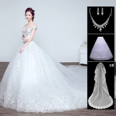 Model Korea Baru Panjang Berekor Panjang Gaun Pengantin Gaun (Berekor Panjang)