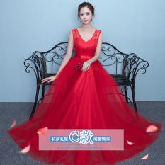 Pernikahan pernikahan gadis versi Korea gaun pengiring pengantin ramping panjang (843 Merah Model Panjang Ayat C) (843 Merah Model Panjang Ayat C)