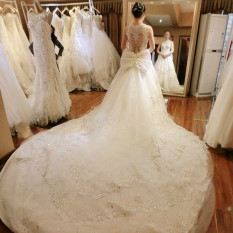 Model Korea Mempelai Wanita Baru Berekor Panjang Gaun Pengantin Gaun (Satu Meter Lima Berekor Panjang (Berekor Panjang Mulai Dari Kaki Menghitung)) baju wanita