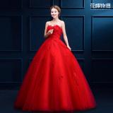 Spek Gaun Pengantin Panjang Bra Pompon Merah Gaya Korea Merah Merah Tiongkok