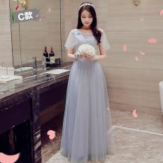 Model Korea Musim Dingin Baru Pengiring Pengantin Slim Gaun Malam Busana Pendamping Pengantin ([Versi Upgrade Model Panjang] Abu-abu Ayat C)