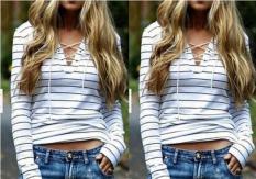 8853 # Amazon AliExpress EBay Model Laris Motif Garis Baju Kaos Stagen Persilangan Lengan Panjang Atasan Baju Dalaman