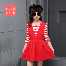 Harga Besar Gaun Model Musim Gugur Gadis Gaun Putri Bergaris Lengan Panjang Merah Tiongkok
