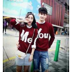 Jual Model Sweater Pasangan You Me Maroon