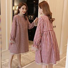 Model Trendi Baru Kotak-kotak Longgar Atasan Baju Hamil Gaun (Merah)