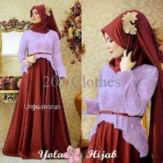 Model Yola Hijab Gamis Pesta Ungu Kombinasi Marun Mewah Bagus Murah Paling Murah