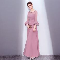 Harga Modis Baru Musim Gugur Dan Dingin Pertemuan Tahunan Gaun Gaun Malam Warna Pasta Kacang Merah Baju Wanita Dress Wanita Gaun Wanita Yang Murah