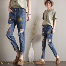 Modis Bordir Celana Harem Perempuan Celana Jeans Sobek (Biru)