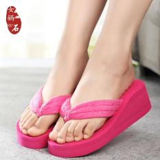 Modis Handuk Kain Wanita Sol Tebal Sandal Jepi t Sandal Kasual atau Sandal (Merah Mawar Warna)