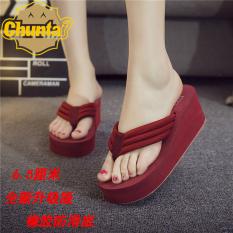 Modis Handuk Kain Wanita Sol Tebal Sandal Jepit Sandal Kasual atau Sandal (Versi Upgrade Arak Anggur)