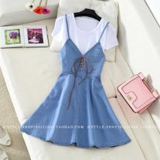 Dapatkan Segera 2 Piece Slimming T Shirt Pendek Gaun Tali Denim Wanita Light Blue Set Light Blue Set