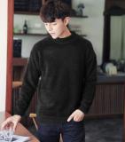 Spesifikasi Mohair Warna Solid Leher Bulat Lebih Tebal Merajut Kemeja Laki Laki Sweter 9836 Hitam Paling Bagus