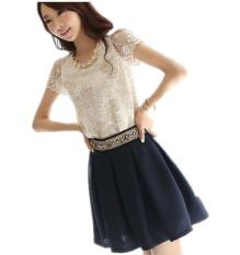 Beli Moke Wanita Chiffon Shirt Lace Top Manik Manik Bordir O Neck Blus Tops Oem Online